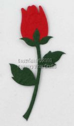 5 Long Stemed Mulberry Paper Die Cut Red Rosebuds